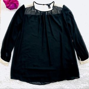 H&M Black and Ivory Blouse